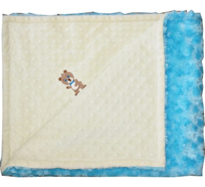 Baby Yellow Minky Dot/Turquoise Blue Swirl Blanket with BOY BEAR